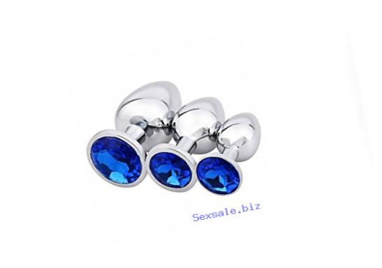 Akstore 3 Piece Luxury Jewelry Design Fetish Stainless Steel Anal Butt Plug with Penis Condom, Blue, 10.4 Ounce