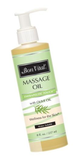 Bon Vital Therapeutic Touch Massage Oil Made with Olive Oil to Repair Dry Skin & Soothe Sore Muscles, 8 Ounce Bottle