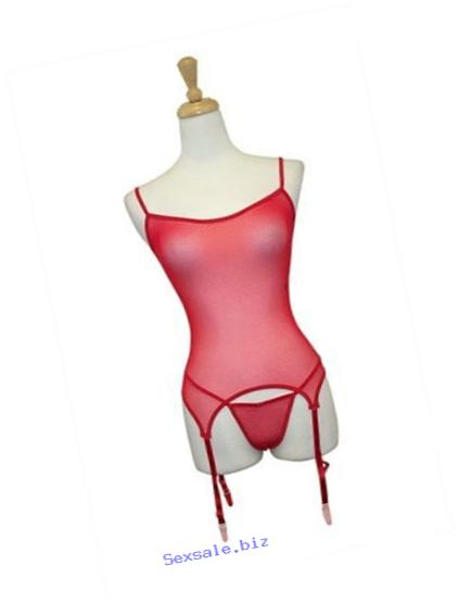 Exposed by Magic Silk Sheer Mesh Merry Widow and G-String Set, Lrg/Xl, Red