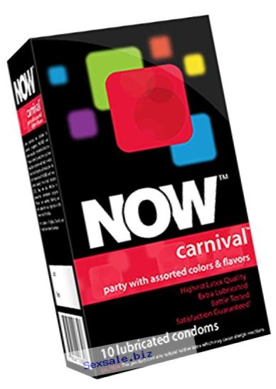 NOW Carnival Colored and Flavored Condoms, 10 Count
