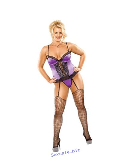 Magic Silk Precious Gems Corset and G-String, XX-Large, Purple