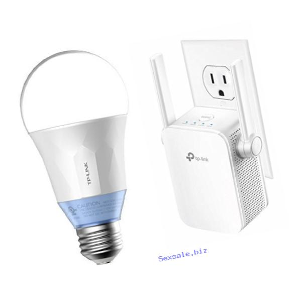 TP-Link Smart LED 60W Equivalent Light Bulb (LB120) and TP-Link AC1200 Dual Band Wi-Fi Range Extender (RE305)