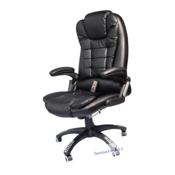 HomCom Executive Ergonomic PU Leather Heated Vibrating Massage Office Chair - Black