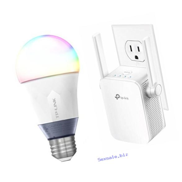 TP-Link Multicolor Smart Wi-Fi LED 60W Equivalent Bulb (LB130) and TP-Link AC1200 Dual Band Range Extender (RE305)