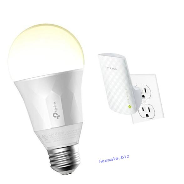 TP-Link Smart LED 50W Equivalent Light Bulb (LB100) and TP-Link AC750 Dual Band Wi-Fi Range Extender (RE200)