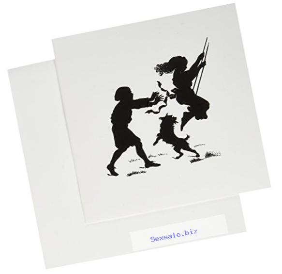 3dRose Greeting Cards, 6 x 6 Inches, Pack of 6, Vintage Boy and Girl on Swing with Dog (gc_112347_1)