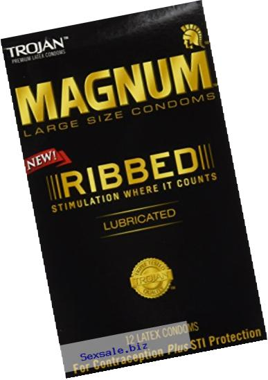 Trojan Magnum Ribbed Lubricated Condoms, 12 Count