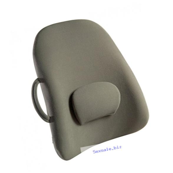 Obus Forme Ergonomic Lowback Backrest Support w/ Strap in Grey- Helps Relieve Back & Neck Pain- Great for Travel & Seats/Chairs in Home, Office, Car or Wheelchair- Adjustable Lumbar Cushion- Sciatica & Muscle Ache Relief- Lightweight, Portable & Comfortab