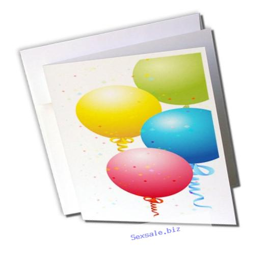 3dRose Red, Blue, Yellow, and Green Floating Balloons - Greeting Cards, 6 x 6 inches, set of 12 (gc_101302_2)