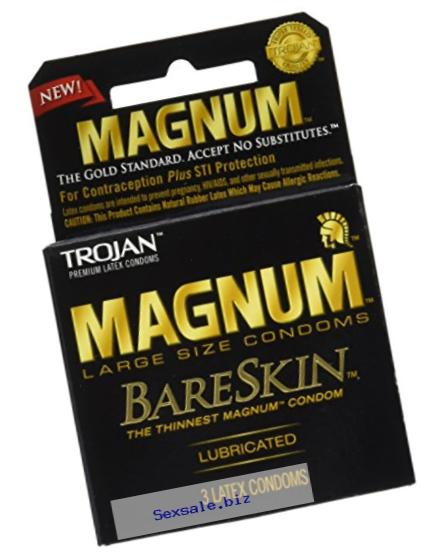 Trojan Magnum Bareskin Lubricated Condoms, 3 Count (Pack of 6)