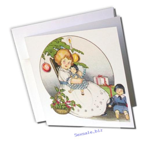 3dRose Child Holding Doll at Christmas Greeting Cards, Set of 12 (gc_172512_2)