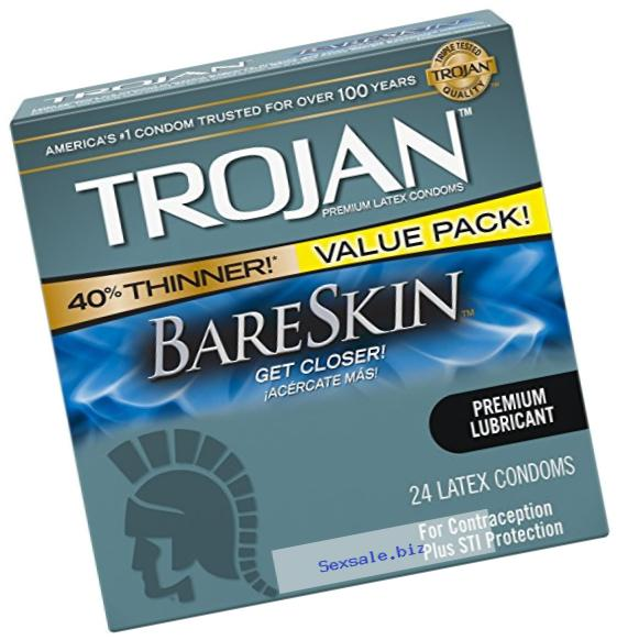 Trojan Sensitivity Bareskin Lubricated, Latex Condoms, 24 Count