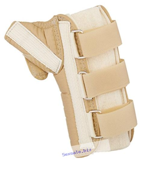 Rolyan D-Ring Wrist and Thumb Spica Splint for Right Wrist, Beige Wrist Splint for Tendonitis, Inflammation, Carpal Tunnel, & Tendinitis, Easy On Easy Off Brace for Thumb & Wrist Support, X-Small