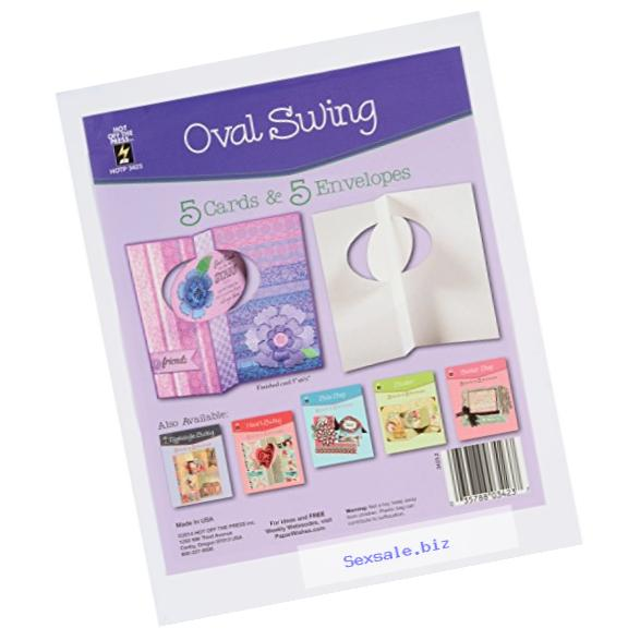 Hot Off The Press Die, Cut Cards with Envelopes, Oval Swing, 5-Pack