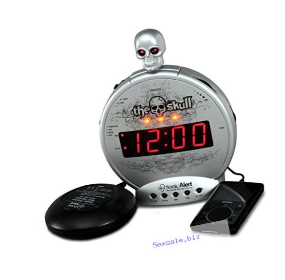 Sonic Alert Loud Alarm Clock SBS550ss The Skull with Vibrating Shaker