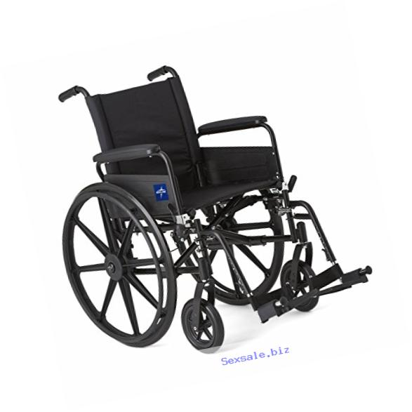 Medline Premium Ultra-lightweight Wheelchair with Full-Length Arms and Swing-Away Leg Rests for Easy Transfers, 18