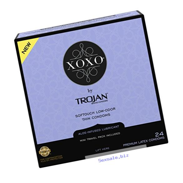 Trojan XOXO Thin Softouch Lubricated Latex Condoms, 24 Count