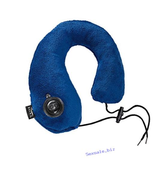 Bucky Gusto Inflatable Neck Pillow, Comfort at Home or when Traveling, Extra Soft Cover, Deflates for Storage - Navy